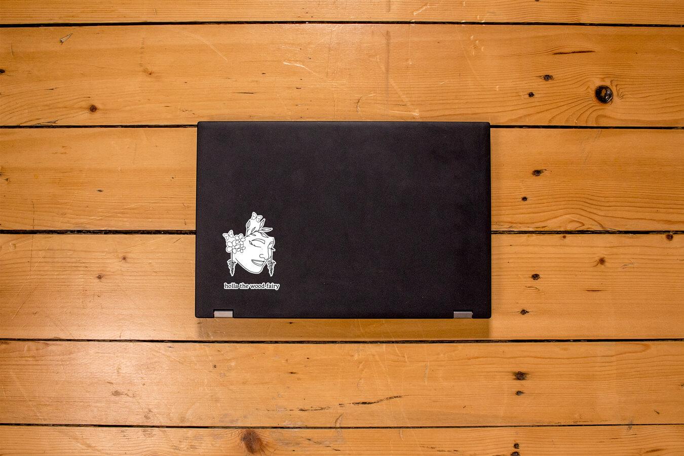 Produktbild Sticker holla the wood fairy auf Laptop
